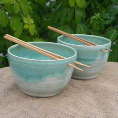 Pair of noodle or rice bowls hand thrown in stoneware pottery ceramic. £24.99, via Etsy.