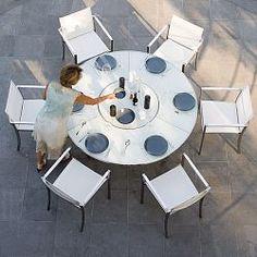 Livina Teak Round Dining Table with Granite Lazy Susan Teak