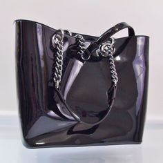 0ee57511a088 Details about DKNY Black Patent Leather Tote Large Shopper Purse Handbag   185