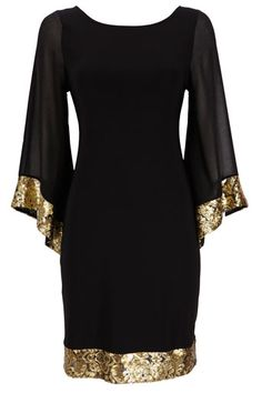 A fab black holiday dress with the perfect touches of gold sequins for $70