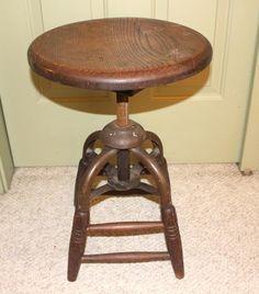 Antique Adjust Industrial Machine Age Steampunk Drafting Wood & Iron  Leg Stool