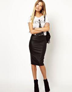 Vero Moda Leather Look High Waist Pencil Skirt