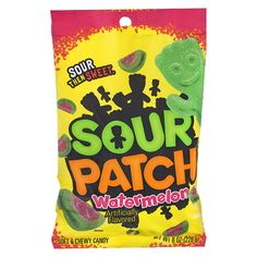 SUPER sour, then sweet, in assorted Sour Patch Kids fruity flavors. For those who like to take their sour to the next level. Sour Patches, Soft Candy, Chewy Candy, Sour Patch Kids, Sour Patch Watermelon, Healthy Chips, Peg Bag, Swedish Fish, Vegan Snacks