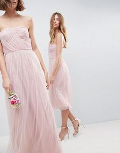 e7b3a115a696 ASOS DESIGN bridesmaid bandeau tulle maxi dress Maxi Bridesmaid Dresses