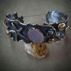 #silver #handmade #roberteskici # cuff # starfish #diver #rozquatz