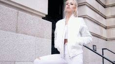 1. Cerise Ice White Bomber Jacket  2. Enara Crop Top -White  3. White High Waist Jeans  All Available NewAgeRebel.com