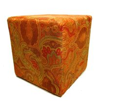 Modern Upholstered Ottoman  Suede Ottoman Cube by slgeorge on Etsy, $199.00