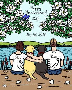 Personalized Wedding Anniversary Labrador by HappyLabradorsCrew