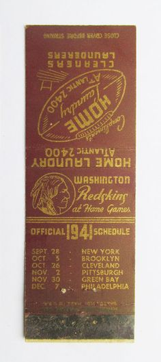 Bob Masterson 1941 Washington Redskins Football Schedule Sports Matchbook Cover