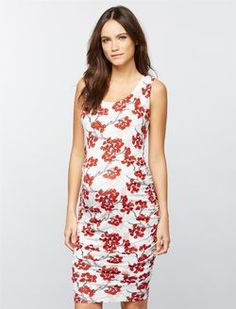 Sleeveless Side Ruched Maternity Dress- Cherry Blossom, Cherry Blossom Print