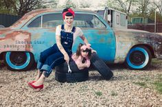 Rockabilly mother and daughter mechanic. Photo Session Ideas | Props | Prop | Sisters | Family | Girls | Pin Up