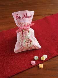 DIY Valentine Treat Bags. Embrodiery