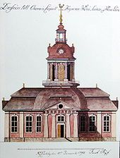 Design for Oravais Church, Finland; watercolour by Jacob Rijf, 1792 Greek Revival Architecture, Finland, Notre Dame, Colonial, This Is Us, Exterior, Building, Architectural Drawings, Stockholm