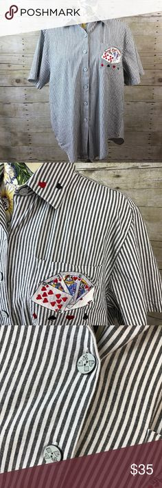 Vtg Playing Cards Poker themed SS collared shirt Vintage Playing Cards/ Suits/ Poker themed collared shirt  Short sleeve black and white striped shirt 100% cotton Features left breast pocket, ornate buttons with playing card suits and embroidery No makers or sizing tags Measurements taken with garment flat Pit to pit measures approximately 23 inches across Shoulder to shoulder it measures approximately 18 inches across Length measures approximately 29.5 inches long Quite a clever shirt for…