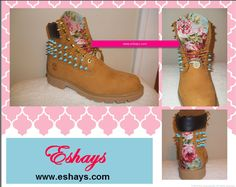 Floral Print Tongue Spiked Timberland Boots- #goldspikes #studded #spikeboots #boots #studdedboots #shoes #americanflag #customize #custom #kicks #urban #style #floral #pink #tropical #prints #designs #tribal #pink #Blue #wheat #painted #salior #eshaysdesigns #babyblue #laces #weddingtimberlands #weddingdate #paintedtimberlands