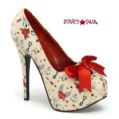 Teeze-12-3, 5.75 Inch High Heel with Tattoo Prints and Bow