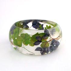 Botanical Fern Statement Bangle. Blue and Green Contemporary Jewelry.  Handmade Modern Chunky Bracelet.  Maidenhair Fern and Bluebonnets. $44.00, via Etsy.
