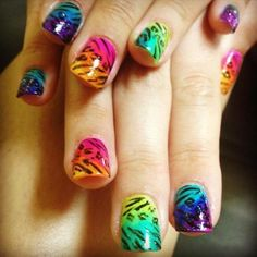 Electric rainbow animal prints by LSTOFFER from Nail Art Gallery Zebra Stripe Nails, Leopard Print Nails, Nails 2014, Toe Nail Designs, Nail Art Galleries, Flower Nails, Creative Nails, Cool Nail Art, Nails Magazine