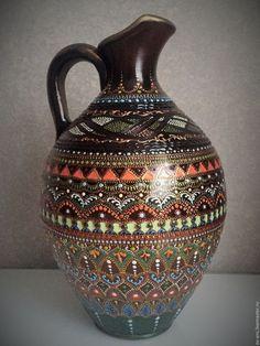 Купить Кувшин декоративный Еffulgent - коричневый, голубой, светлая бирюза, кувшин, Керамика, ручная работа
