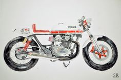 Doodlewash and watercolor sketch by Ngurah Angga of Yamaha XS 650 by Wheely Shop #WorldWatercolorMonth