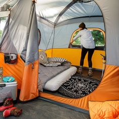 Core Equipment x Cabin Tent w/Screen Room, Sleeps 11 Image 5 of 7 Todo Camping, Camping Set Up, Camping Glamping, Camping And Hiking, Camping Life, Camping Hacks, Outdoor Camping, Tent Camping Beds, Zelt Camping