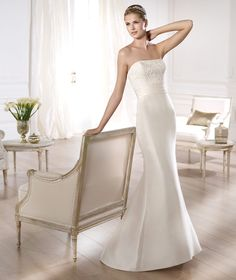 Pronovias presents the Onora bridal dress. Costura 2014. | Pronovias BUt with a bigger skirt and train!