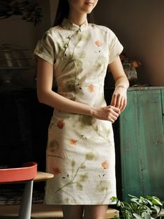 Green Short Floral Mandarin Collar Cheongsam / Qipao / Chinese Dress