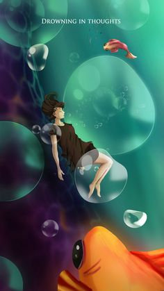 Drowning in thoughts, Fathima Raseed on ArtStation at https://www.artstation.com/artwork/Kqd2G