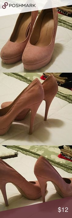 Shoes Dusty pink spike heels.suede.some scuff marks.bottoms and heels in good shape LC Lauren Conrad Shoes Heels