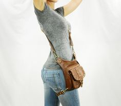 Uptown Pack - (Brown) Thigh Holster, Protected Purse, Shoulder Holster, Handbag, Backpack, Purse, Messenger Bag, Fanny Pack