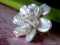 GARDENIA BLOSSOM large cocktail freshwater pearl wire wrap ring >> This ring is spectacular!!!!!