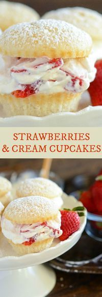 Strawberries and Cream Cupcakes: Light fluffy white cupcakes are filled with juicy fresh strawberries and sweet whipped cream to create a light and bright dessert!