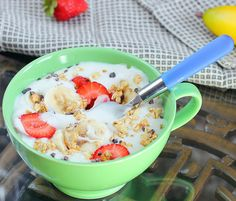 """Homemade Banana Yogurt! SOY FREE, LOW CAL I want to have oats with this in the morn, topped with berries that have been placed in a pan on medium and then with chia seeds to make a """"jam"""". That's what i want!!!"""