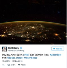 Conspiracy theorists believe that it just might be, after an astronaut on the ISS tweeted this picture - with what appears to be a UFO hanging ominously in the top right hand corner. 'I would find it hard to believe that Scott Kelly did not notice this when he tweeted this out. 'Scott Kelly thank you for sending this photo down to Earth.