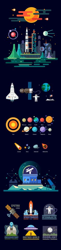 Vector illustration of rockets, astronaut, satellite, sun, moon, comet, planets and observatory in flat style. Space emblems