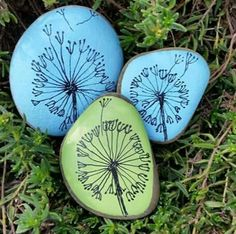 Dandelion Clocks, Hand Painted Pebbles, Unusual Gift, Interesting, Paperweight, Unique, Home Decor,