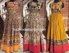 20 Beautiful Kalamkari Anarkali And Gown Designs To Try Out! Salwar Designs, Kalamkari Designs, Half Saree Designs, Kurta Designs Women, Designer Salwar Kameez, Designer Anarkali, Long Skirt Top Designs, Long Dress Design, Kalamkari Dresses