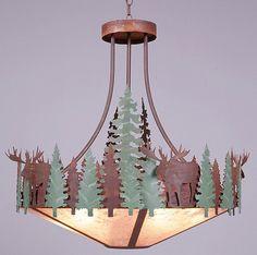 Crestline Moose Chandelier wDownlight4rusticlighting.com