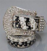 Black Zebra Fashion Genuine Leather Belt with Rhinestone & Stud