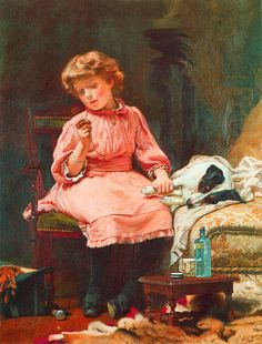 """""""Not Much Wrong"""" by Charles Burton Barber (1845 – 1894, English)"""