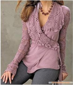 Wrap top with crochet detail CROCHET AND TRICOT INSPIRATION: http://pinterest.com/gigibrazil/crochet-and-knitting-lovers/