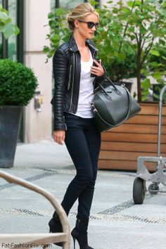 Rosie Huntington-Whiteley in black biker jacket