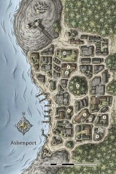 Here's a little town map I did a while ago for Dungeon. Fantasy City Map, Fantasy Town, Medieval Fantasy, Fantasy Village, Plan Ville, Pathfinder Maps, Village Map, Rpg Map, Dungeon Maps