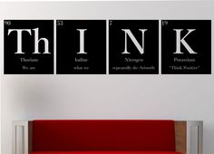 """THINK""""""""WITH QUOTE"""""""" Periodic Table Elements Vinyl Wall Decal Sticker Art Decor Bedroom Design Mural Science Geek nerd educational Aristotle by StateOfTheWall on Etsy https://www.etsy.com/listing/222957794/thinkwith-quote-periodic-table-elements"""