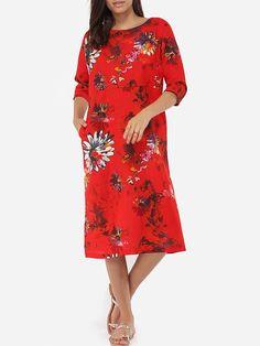 Pockets Boat Neck Dacron Floral Printed Maxi-dress