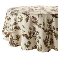 "Home Cream Bird Tablecloth- 70""R.Opens in a new window  $15  LOVE"