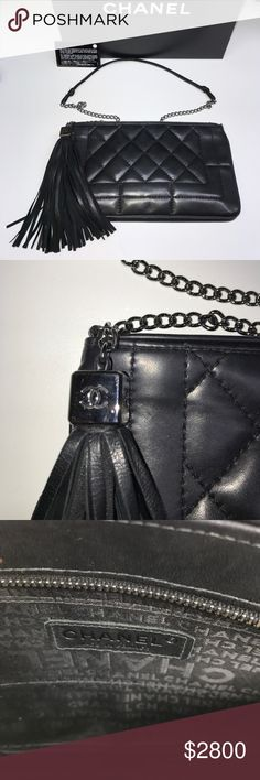 Chanel Sac Pochette Chanel Sac Pochette - 2003 A - 8405987 - Black Lambskin - Palladium  Hardware -  great condition - minor scuffs on interior - no ridiculous offers please! CHANEL Bags Clutches & Wristlets