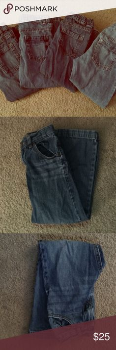 Healthtex toddler boys jeans 4 pairs of toddler boys (5t) jeans all by healthtex. All in really good condition, one pair does have fraying on the bottom of the leg but does not effect the quality or wear of jeans. All jeans are boot cut. healthtex Bottoms Jeans