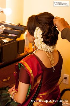 A beautiful up-do hair style to really show off your saree blouse!