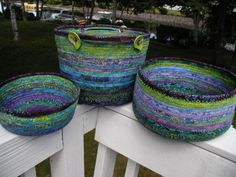 fabric-wrapped clothesline baskets